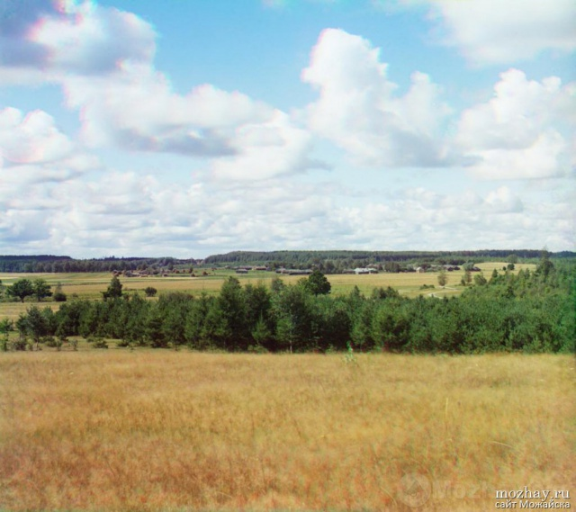 Вид с Утицкой флеши на деревню Утицу. Бородино. 1911.Фото Прокудина-Горского.