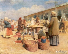 """И.Л. Горохов """"Яблочный базар в Можайске"""" (1913)"""