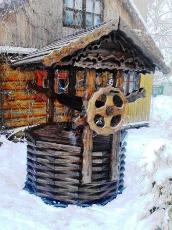 домик на колодец с колесом