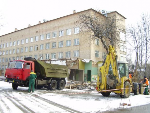 Начало строительства новой детской поликлиники Можайска. Февраль-март 2008 г.
