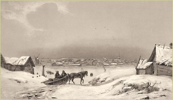 Вид Можайска из д.Чертаново. Литография Бартелеми Ловерн. 1840г.