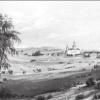Бородинское поле. 1840-е гг. (литография). Справа главный монумент.